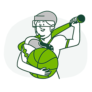 Cartoon of person holding a variety of sports equipment